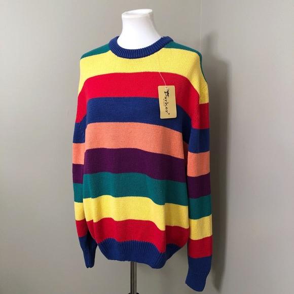 Vintage Sweaters - Vintage Cotton Rainbow stripe sweater NWT